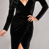 Ashley- Black Velvet Dress