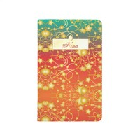 Golden Stars and Circles on A Gradient Background Journal