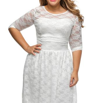 White Three Quarters Sleeves Lace Wedding Plus Dress