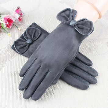 MS suede gloves. Cashmere gloves and cashmere female models in autumn and winter warm touch screen gloves