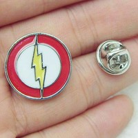 Top Grade Movie Jewelry Superhero Flash Brooch Pin Red Yellow Enamel Lapel Pin Men Badge Pin Hat Ti