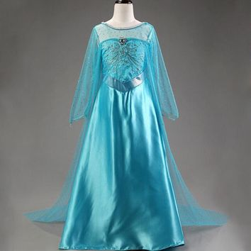 New Princess dresses for girls Cosplay Elsa Dress Snow Queen Fever Anna Costume Birthday Party Dress Children Clothing For Kids