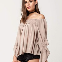 MARONIE Off The Shoulder Womens Ruffle Top | Blouses
