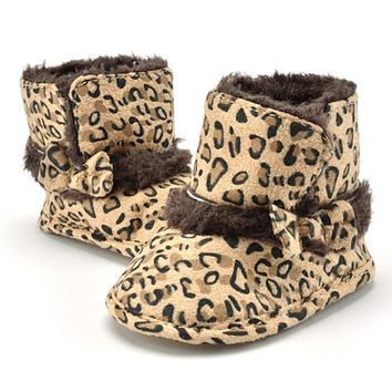 Baby Boots Winter Burst Child Snow Boots Children Warm Leopard Infant Crib Boys Girls Fur Winter Snow Shoes AO#P