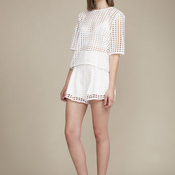 Finders Keepers New Line Top in Lattice White