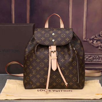 Louis Vuitton Printed Women Casual Daypack School Bag Backpack A-BB-PFLS