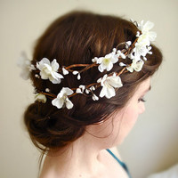 white flower crown cherry blossoms  SAKURA  a by thehoneycomb