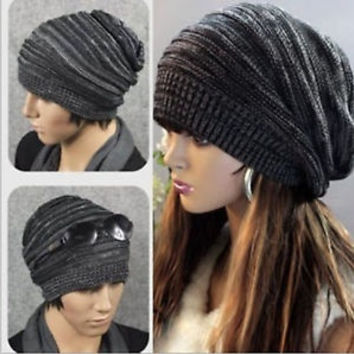 NEW Unisex Womens Mens Knit Baggy Beanie Beret Hat Winter Warm Oversized Ski Cap = 1958102916