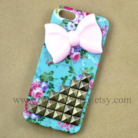 Iphone 5 Case, Bow Iphone 5 Case, Antique Bronze Stud Iphone 5 Case, Flower Rose Iphone 5 Case Cover