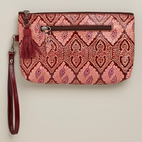 Red Leather Mosaic Zip Pouch Wallet - World Market