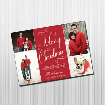 Custom Photo Holiday Card - Digital File Photo Holiday Card - Red & White Script