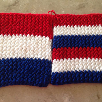 Patriotic Red White And Blue USA Captain America Knitted Pot Holders Trivets