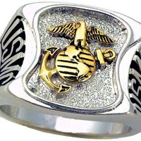 Marines Ring - Pure White Rhodium Plated Ring - Marines Military Ring - USMC - For Military gear or U.S. Marines Uniform Veteran Ring. SIZE 11