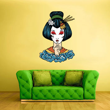 Full Color Wall Decal Mural Sticker Art Geisha Asian Japan Japanese Girl Woman Face (col207)