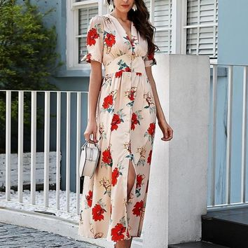 Floral Print Summer Knotted Boho Long Maxi Dress
