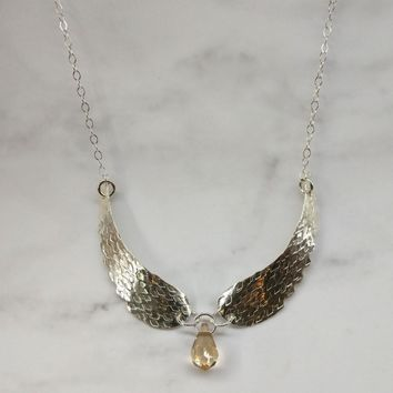 Sterling Silver Hammer Sculpted Angel Wing Topaz Crystal Drop Necklace