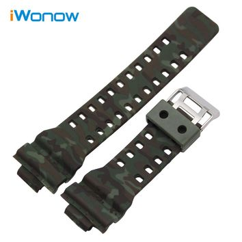 16 x 29mm Camo Silicone Rubber Watchband for Casio G-shock GA100 G/GW/GLS8900 GLS100 Watch Band Steel Clasp Strap Wrist Bracelet