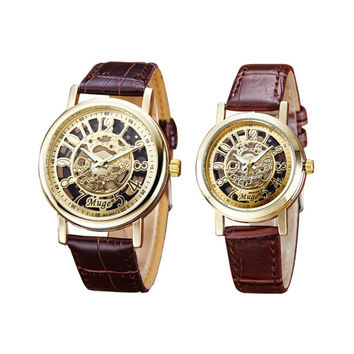 2pcs Classic gold watch for lover gift women clock men Wrist Hollow Skeleton Mechanical Couple Watch Leather Strap Wrist Watch