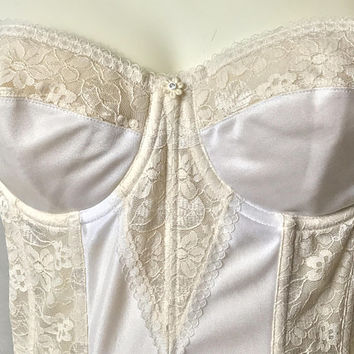 34C Vtg DOMINIQUE Ivory Strapless Boned Corset / Off White Longline Bra with Underwire / Floral Lace Bridal Bustier / Sexy Pin Up Lingerie