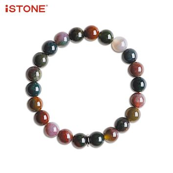 iSTONE 100% Natural Gemstone Round Bracelets India Agate Fine Jewelry Lucky Bead Gift for Valentine Lover Family