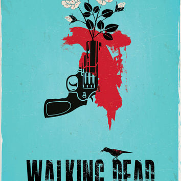 "Original Print Reinterpretation of the hit cable show, ""The Walking Dead"" based on the Carol character"