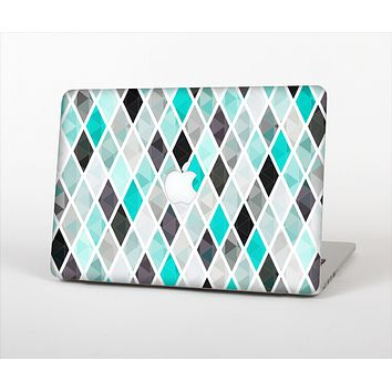 "The Graytone Diamond Pattern with Teal Highlights Skin Set for the Apple MacBook Pro 15"" with Retina Display"