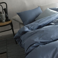 French Solid Navy / Denim Colored Twin / Queen Size Bedding Set