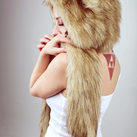 """Beast Hat """"Coyote"""" A, with ears, faux fur"""