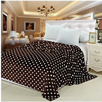 "Soft Touch Full/Queen Size (86"" x 86"") Polka Dot Micro-Fleece Blanket - Chocolate Brown"