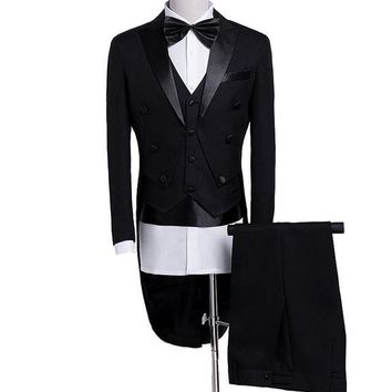Men's Shiny Wedding 5 Piece Tail Coat Suit Up To 2XL