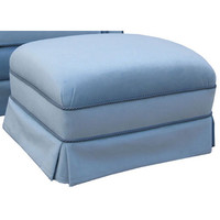 Angel Song 221020177 Classic Velvet Blue Adult Club Stationary Ottoman
