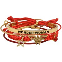 Licensed cool DC  Wonder Woman Logo 5PK Bracelet Set Arm Candy Party Cord & Beads NEW