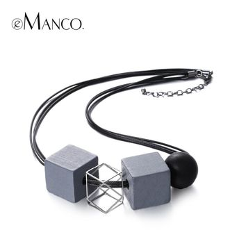eManco black rope wooden beads choker necklace ethnic square alloy chain geogemtric vintage necklace for women collares mujer