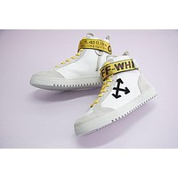 Off White Arrows High Top Sneakers White High Skateboarding Shoe