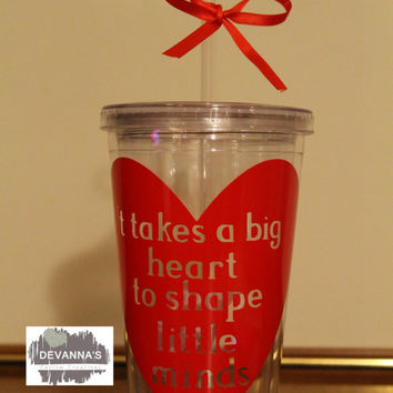 16oz Personalized Tumbler with Lid and Straw - Teacher Appreciation