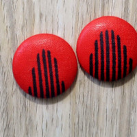 Button Earrings, Red Fabric Earrings, Red Button Earrings, African Fabric Earrings, Turn Up Earrings, African Earrings, Velocity Earrings