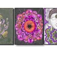3 Piece Painting Prints, Buddha Ganesha Painting, Colourful Wall art, Spiritual wall art, Mandala Painting Picture, Yoga Zen Boho art gift