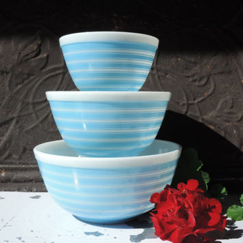 Vintage Pyrex Nesting Bowls Set of Three Blue Striped Mixing Bowls Pyrex Ovenware