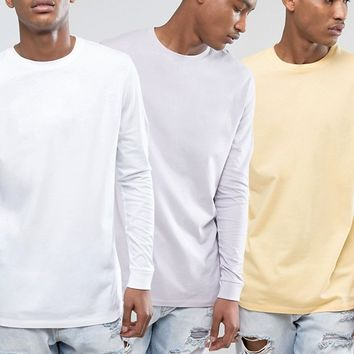 ASOS 3 Pack Longline Long Sleeve T-Shirt In Yellow/Purple/White SAVE at asos.com