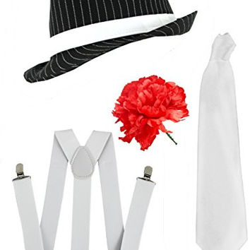Ilovefancydress Men's Gangster Set Fancy Dress Accessory Costume Deluxe Kit Pinstripe Trilby Hat + White Braces + White Tie Mob Gangster Men Al Capone One Size Black/ White