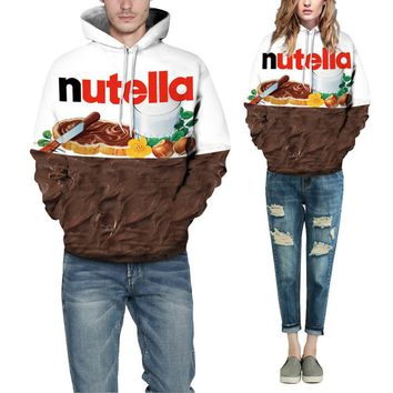 mrwonder 2018 Autumn Winter Men Sweatshirt 3d Street Style Pullover Jumpers 3D Nutella Chocolate Printed Hoodie Lovers