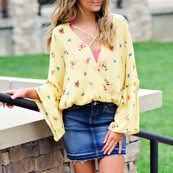 * Primrose Surplice Floral Blouse w/ Bell Sleeves : Yellow