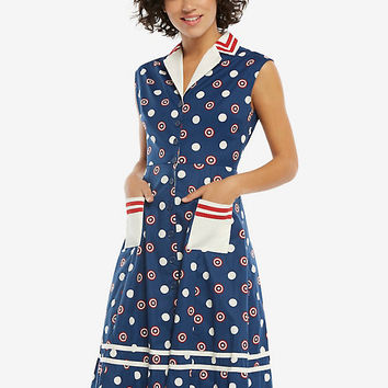 Marvel Captain America Retro Button-Front Dress