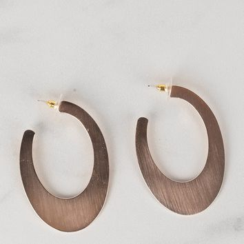 Metalwork Half Hoop Earrings in Rose Gold or Silver - AKIRA