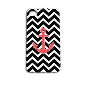 Cute Custom Anchor Phone Case Beautiful Chevron Cover iPhone 5 5c 5s 4 4s 6 6s +