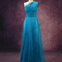 Free Shipping New Arrival 100% Real Sample High Quality One Shoulder Floor Length A Line Chiffon Blue Bridesmaid Dress 2013