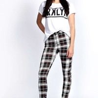 Lara Super Skinny Large Check Tube Jeans