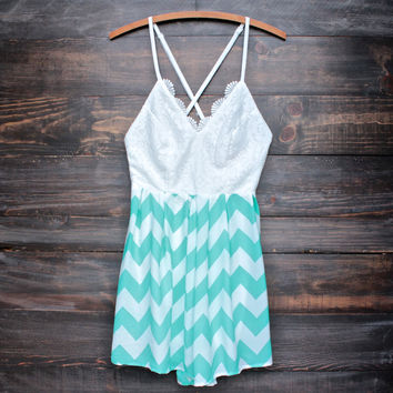 summer open back mint green chevron romper