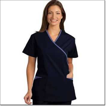 Fashion Seal Women's Fashion Poplin Cross-Over Tunic with Contrasting Trim - Ceil Blue, Navy