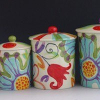 Canister Set - Jubilation Canister Set of Four - Colorful Pottery for Serving Kitchen Decoration or Gift Giving   J-320